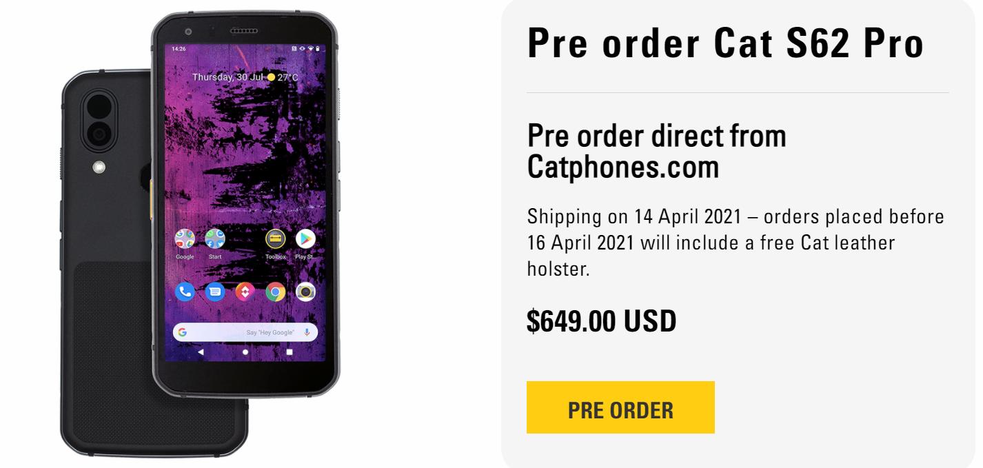 Caterpillar выпустила защищённый смартфон с тепловизором Cat S62 Pro