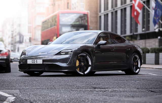 LONDON, UNITED KINDOM - AUGUST 09: The Porsche Taycan seen in Knightsbridge, London. The Taycan is Porsches All-Electric Sports car, which is also the Marques highest selling sports car in the US. (Photo by Martyn Lucy/Getty Images)