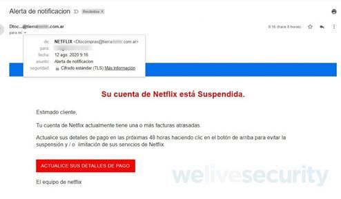 Письмо с требованием уточнить платежные данные пользователя Netflix