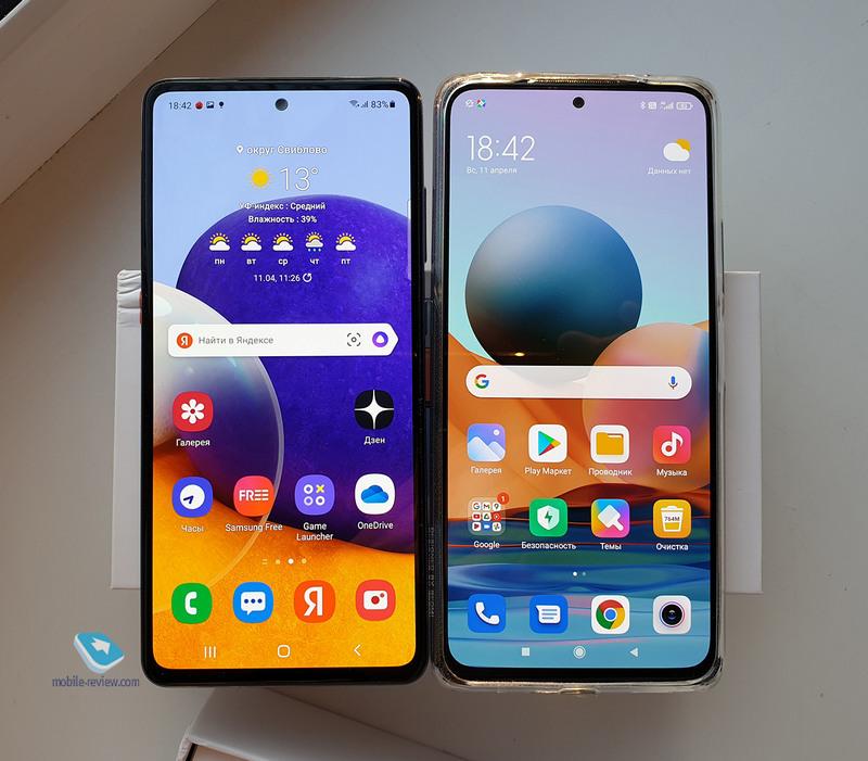 Сравнение Xiaomi Redmi Note 10 Pro и Samsung Galaxy A72