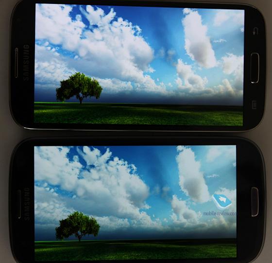 Сравнение экранов Samsung Galaxy S IV и Samsung Galaxy S III